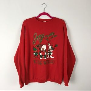 VTG Ugly Christmas Cotton Crewneck Sweater Red L